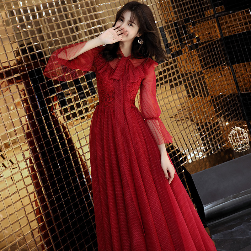 Gengli The Bride 2020 Cultivate Morality Show Thin Long Lace Princess Married Female Modern Evening Dresses Red In The Autumn