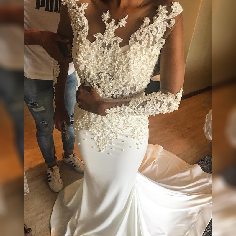 2019 vintage Mermaid Long sleeve lace wedding dress Sexy Muslim Vestido De novia Appliques Wedding Bridal Gown