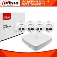 Dahua 4MP 8+4 Security CCTV Camera Kit With NVR2108 4KS2 IP Camera IPC HDBW4433C A P2P Surveillance System Easy To Install
