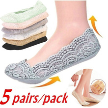 Lace Socks Anti-Slip Invisible Girls No-Show 5pair/Pack Cotton Women