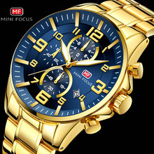 2019 Nieuwe Mode Koninklijke Gouden Blauw Heren Quartz Horloge Top Brand Luxe Man Chronograaf Horloge 3 Dial Sport Mini focus Horloge