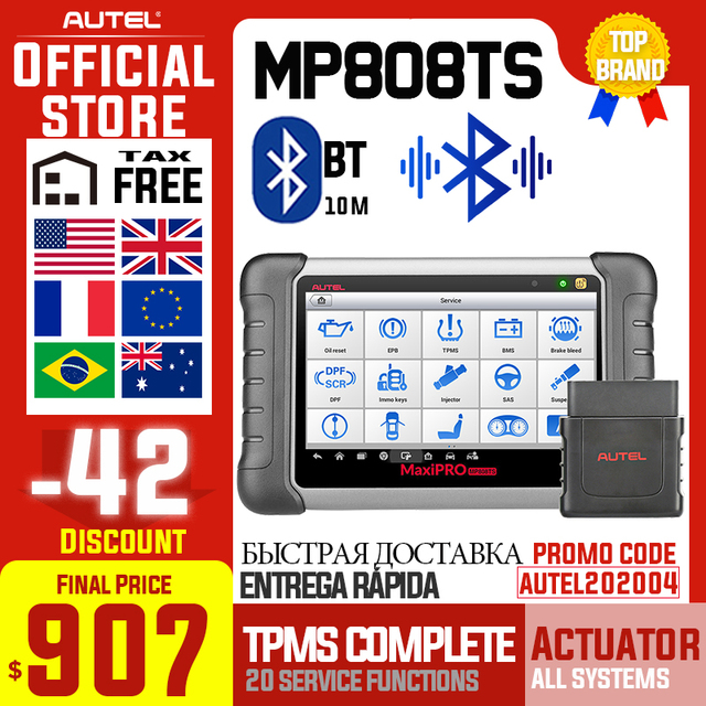 Autel MaxiPRO MP808TS Diagnostic Tool Automotive Scanner OBD2 OBD 2 All system Add TPMS Function Better Than MK808 MK808TS AP200
