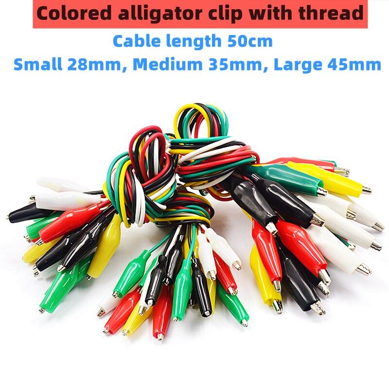 10 adet renk timsah klip elektrik DIY küçük pil güç kablosu kılıf elektrik kelepçesi çift kafa test clamp.28mm35mm45mm 50cm