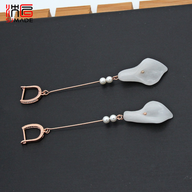 SJMADE Fashion Vintage Japanese South Korean Long Flower Earrings 585 Rose Gold Jades Crystal Eardrop Women Wedding Jewelry Gift