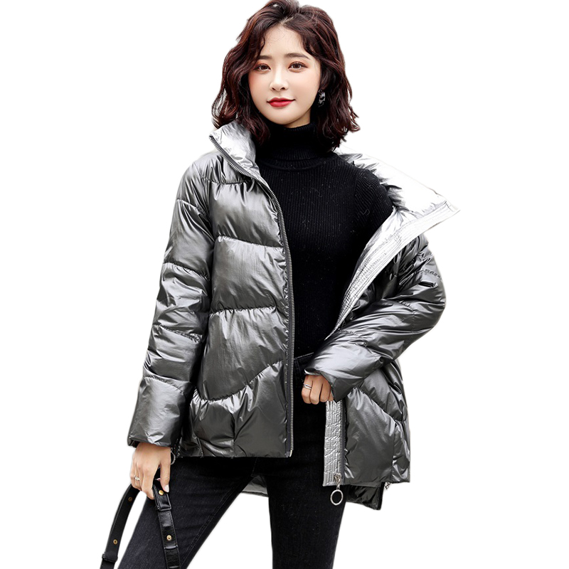 New Shiny Down cotton Jacket winter short Down Jackets women's Korean Thicken warm Bread cotton overcoat Windproof Jackets F1224