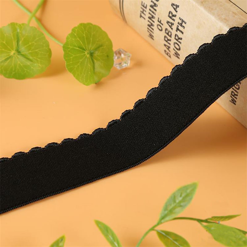 10 Yards 15mm Velvet Wave Elastic Band Black White For Underwear Garment Sewing Accessories Elastic Ribbon Bra Strap DIY