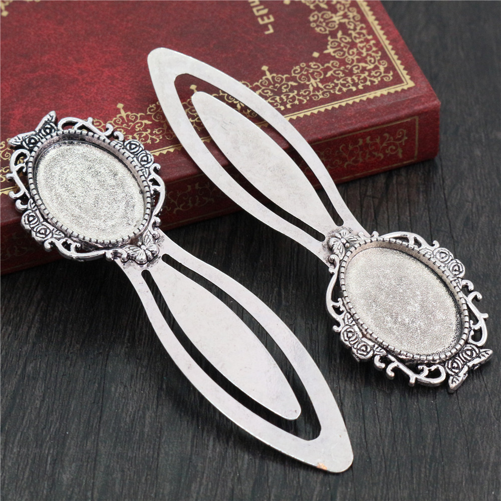 New Fashion 2pcs 18x25mm Inner Size Antique Silver Plated Simple Style Handmade Bookmark Cabochon Base  Cameo Setting (H1-16)