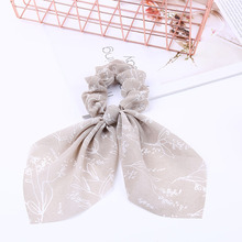 CN Hair Accessories Chiffon Bow-knot Ribbon Scrunchie For Girls Elastic  Bow Streamer Ties Print Bands Women