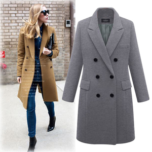 Image 4 - Manteau automne hiver pour femme, manteau droit, Long, laine mélangé, veste élégante bordeaux noir, manteau de bureau 2020