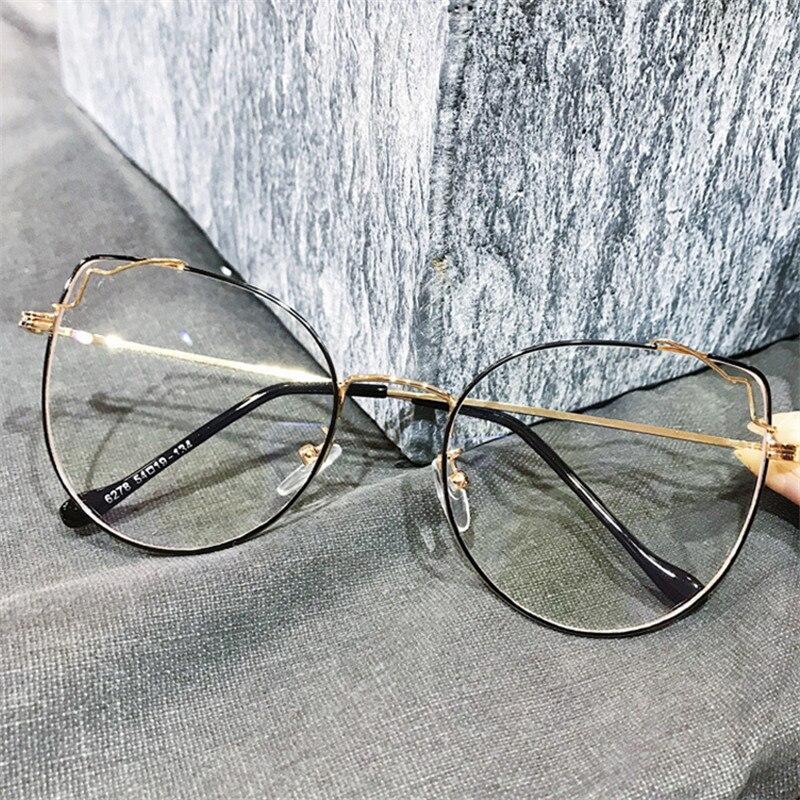 NYWOOH Anti Blue Light Cat Eye Glasses Frames Women Vintage Oversized Transparent Eyeglasses Frame Female Optical Spectacles