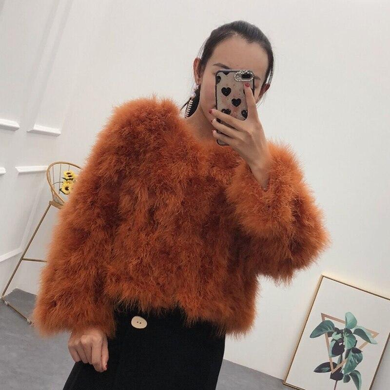 Nouveau femmes réel dinde plume court manteau véritable autruche plume printemps automne hiver veste femelle plume survêtement