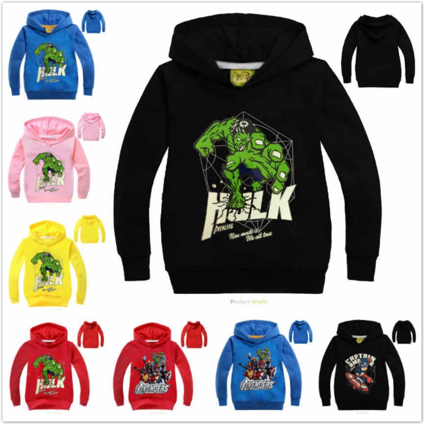 Kids Hooded Children Sweatshirts Spring Clothes Girls Long Sleeve T-Shirt Boy Clothing The Incredible Hulk Tops Tee Baby Costume