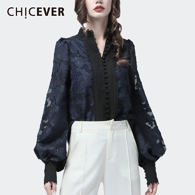 CHICEVER Korean Chic Patchwork Lace Women's Shirt Stand Collar Lantern Sleeve Loose Casual Blouse Female 2019 Autumn Fashion New