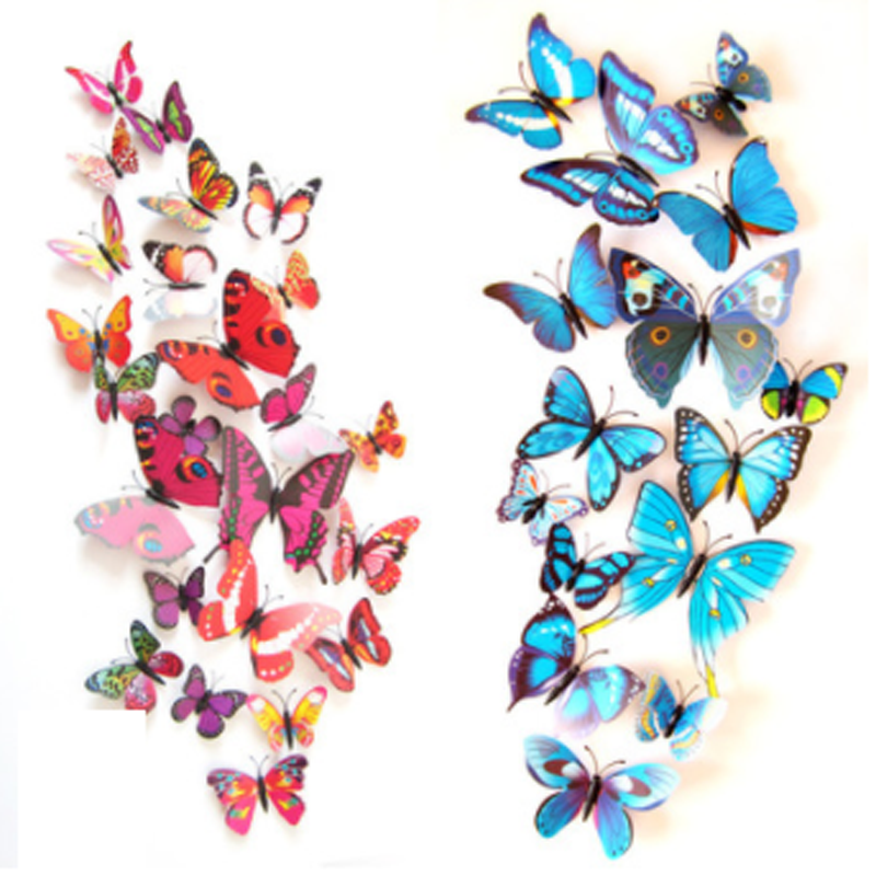 12Pcs 3D Butterfly Wall Sticker on the Wall Home Decor DIY Butterflies Fridge Magnet Stickers Room Decoration Poster Wallpaper
