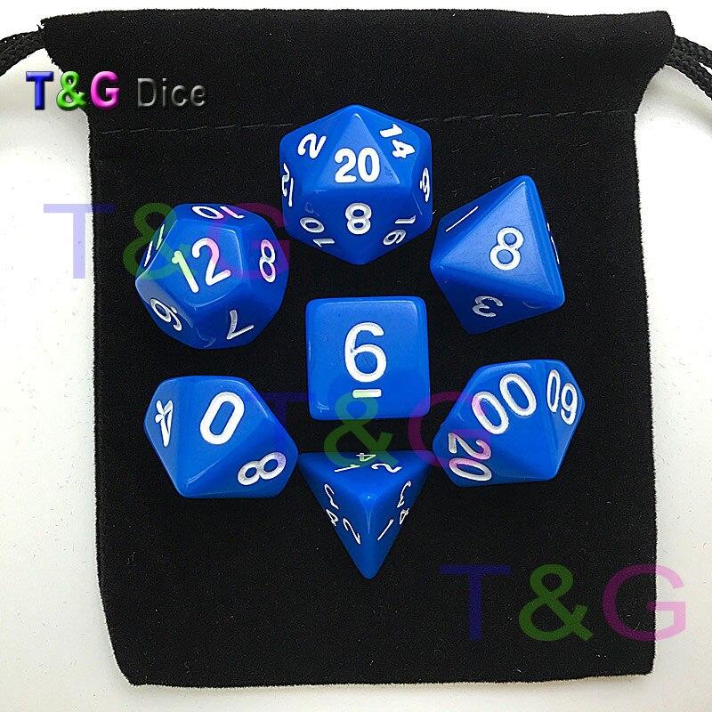 Hot Colorful Acrylic Dice Set With Black Dice Bag D4,D6,D8,D10,D10%,D12,D20 7 Differents Color Dnd
