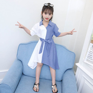 Image 3 - בנות שמלת פסים טלאים המפלגה שמלת לילדה להנמיך צווארון ילדים שמלה עם Bow חגורת סתיו חידוש תלבושות עבור בנות