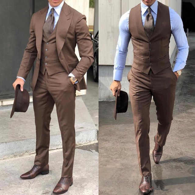 2020 Formele Bruiloft Mannen Suits Piekte Revers Bruin Jas Vest Broek Tailored Made Blazer Bruidegom Smoking Voor Heren Prom Pak 3 Pcs