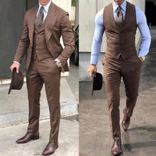 2020 Formal Wedding Men Suits Peaked Lapel Brown Jacket Vest