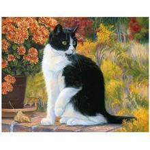 """Выполненные 40x50 см diy картина по номерам проект """"Кошка"""""""