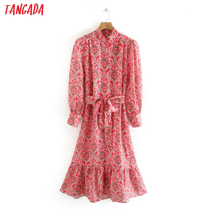 Tangada 2020 Spring Fashion Women Red Flowers Print Shirt Dress With Slash Long Sleeve Ladies Midi Dress Vestidos 2W132