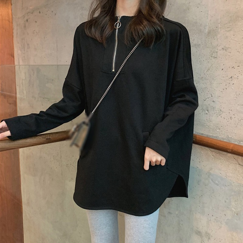 Women  Autumn Sweatshirt Simple Long Sleeve Cute Zipper Solid Color Casual Loose Hooded Sweatshirt