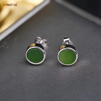 CYNSFJA New Real Certified Natural Hetian Jade Jasper 925 Sterling Silver Fine Jewelry  Jade Earrings High Quality Best Gifts