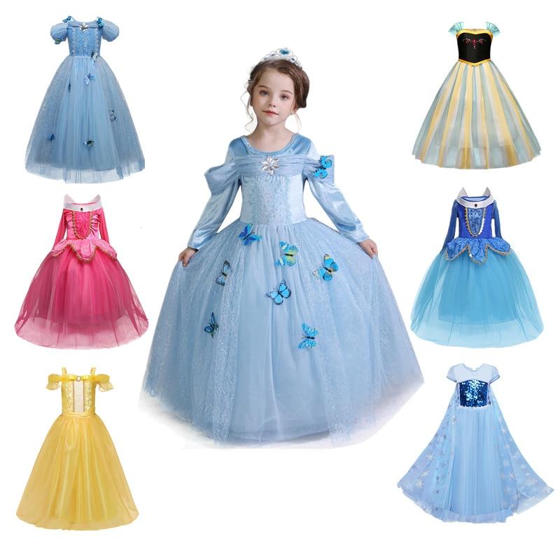 Girls Party Dress Kids Cinderella Snow White Halloween Costume Baby Girl Princess Dress Christmas Rapunzel Aurora Belle Dress