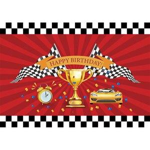Image 4 - Funnytree race theme photo curtain birthday background car backdrop grid banner child Baby photography photozone photophone