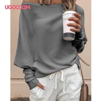 UGOCCAM White Blouse Women Long Sleeve Off Shoulder Shirt Casual Loose Women Tee Top Streetwear Plus Size roupas feminina 1