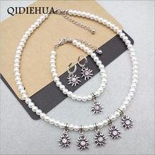 الموضة الكلاسيكية Edelweiss قلادة النحاس حلقة القرط سوار مجموعة اليدوية مقلد بيرل زهرة النساء مجموعات المجوهرات بالجملة