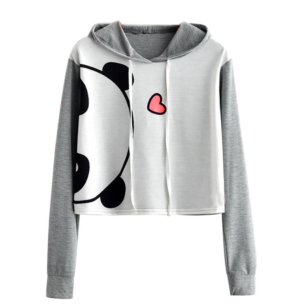 Jaycosin Women Panda Cartoon Print Long Sleeve Hoodie Sweatshirt Casual Chic Attractive Cute Hooded Pullover Tops Blouse
