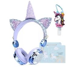 בלינג יהלומי ילדים Unicorn אוזניות עם מיקרופון חמוד בנות Wired משחקי אוזניות קריקטורה ילד מוסיקה אוזניות Brithday מתנה
