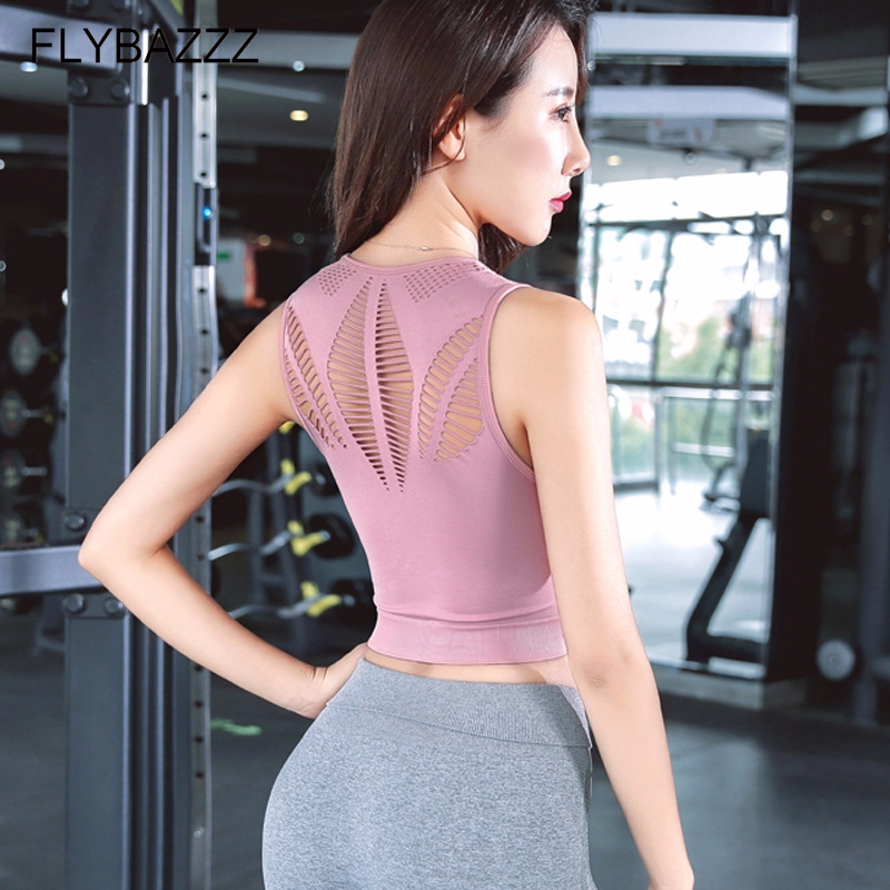 Sports-Bra Crop-Top Active-Wear Running-Brassiere Seamless Fitness Back Workout Sexy
