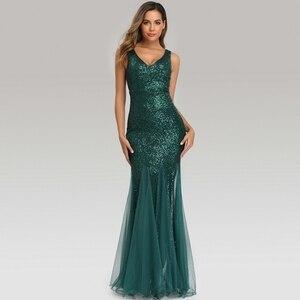 Image 4 - YIDINGZS ירוק שמלת ערב ללא שרוולים אלגנטי בת ים ארוך פורמליות המפלגה שמלת YD9682
