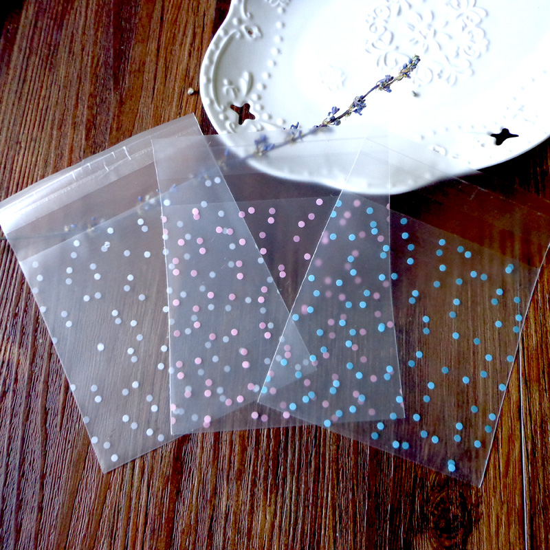 100pcs Polka Dots Frosted Plastic Bag Cookie Packaging Bags Self-adhesive Plastic Envelope Office School Supplies