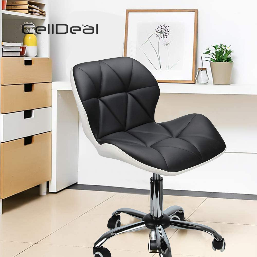Metal And PU Shock Absorber Swivel Chair Computer Desk Office Chrome Leg Lift Swivel Chair Den Adjustable Leather Chair Casters