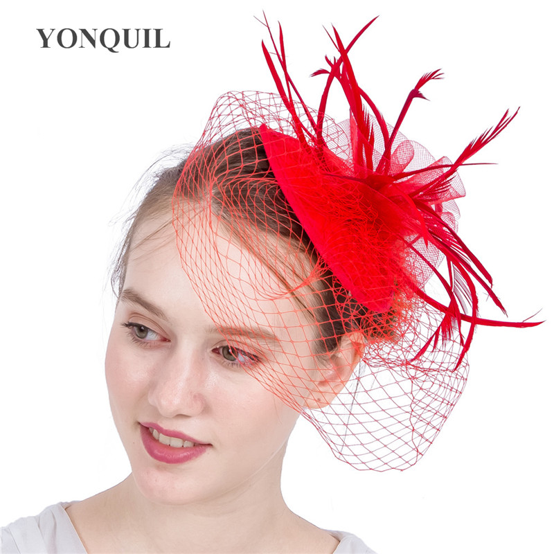 Kentucky Cocktail Hats Mesh Flower Fascinators With Feather Derby Occasion Wedding Hair Accessories NEW ARRIVAL Multiple Colors