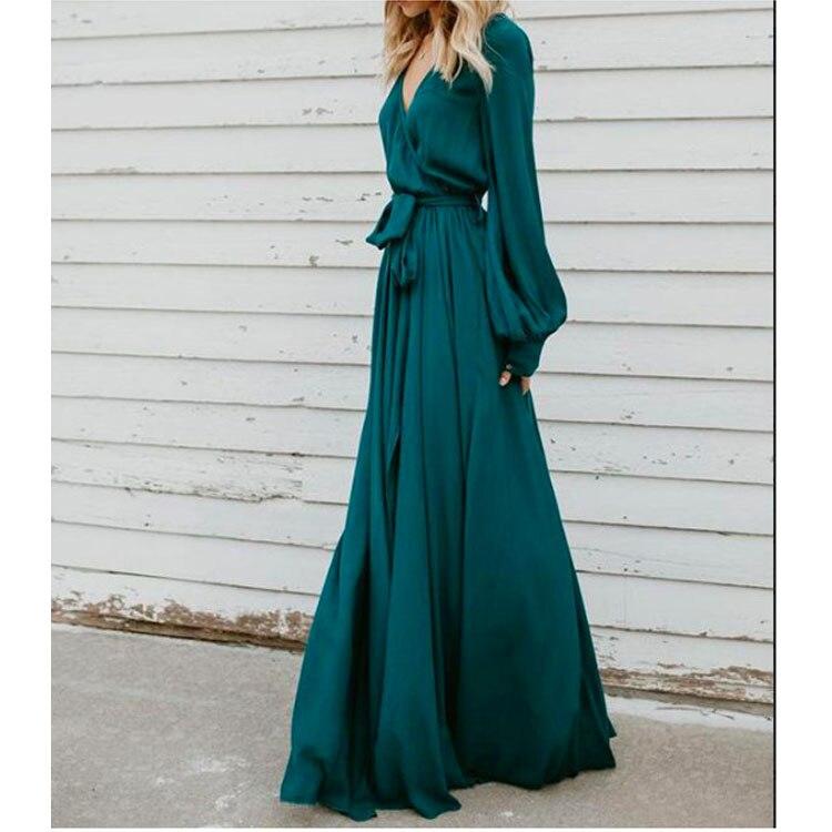 Fashion 2019 Elegant V Neck Evening Party Gowns Boho Long Sleeve Long Dress Sexy Casual Beach Dress Vestidos