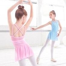 New Mesh Lycra Cotton Girls Pink Blue Ballet Dance Wear Leotard Dress Gymnastics Swimsuit Bodysuit For Dancing