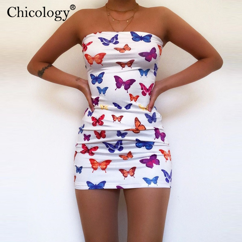 Chicology Butterfly Print Tube Mini Dress Offer Shoulder Women Sexy Streetwear 2020 Summer Party Outfits Female Bodycon Clothes