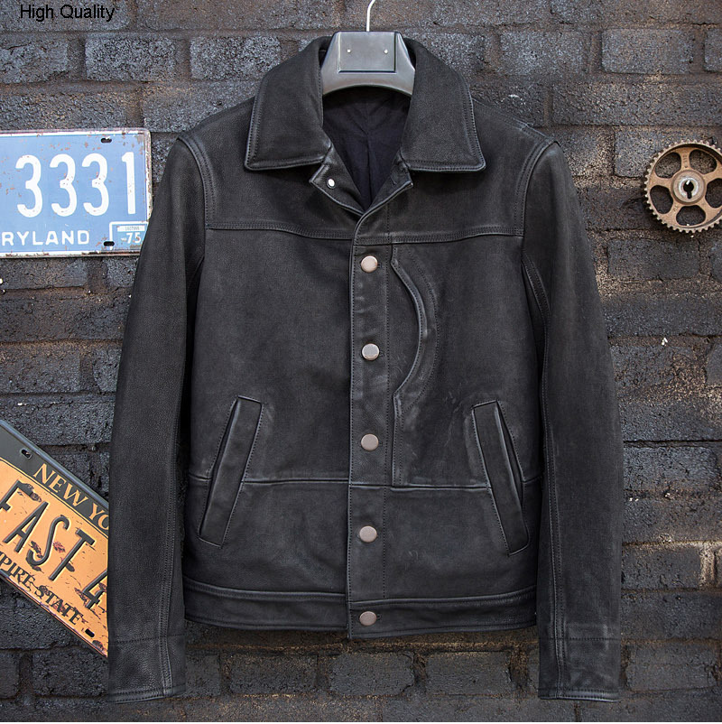 Autumn Winter Men's Cowhide Genuine Leather Jacket Leisure Fashion Style Motorcycle Clothing Lapel Slim Fit Single-breasted