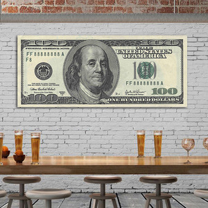 Large Version 100 Dollar Bill Nordic Canvas Art Print Painting Posters Wall Pictures For Living Room Bedroom Office Home Decor(China)