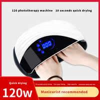 Lámpara de uñas de Gel LED UV de 120W con ventilador secador de uñas de dos manos para secar todo el Sensor de esmalte de Gel luz Led solar herramientas de manicura de decoración de uñas