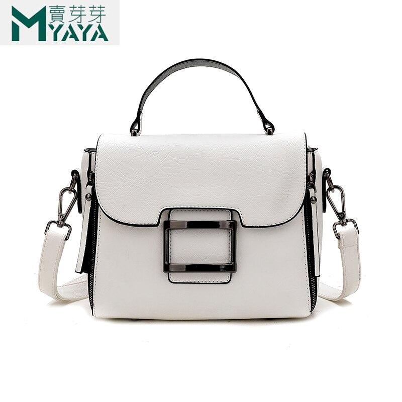 MAIYAYA 2019 nouveau blanc sacs à bandoulière pour les femmes de haute qualité PU femmes sacs de messager mode rabat fourre-tout pour les filles Sac A Main