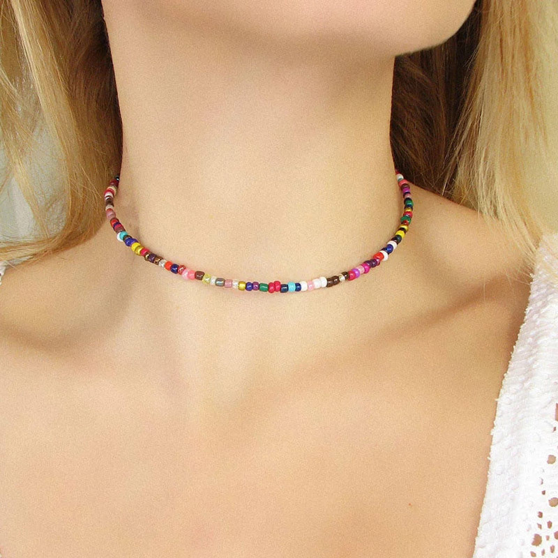 Zuowen Handmade Beaded Elastic Choker Necklace Bohemian Colorful Beads Chain Necklaces for Women Summer Fashion Jewelry