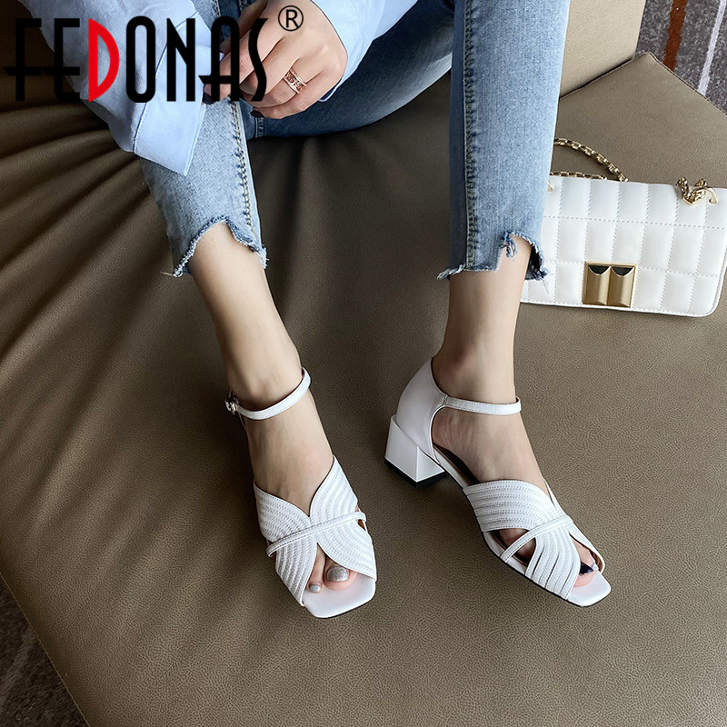 FEDONAS Classic Design Women Genuine Leather Shoes Woman Square Heels Pumps Fashion Open Toe Summer New Slip On 2020 Shoes Woman
