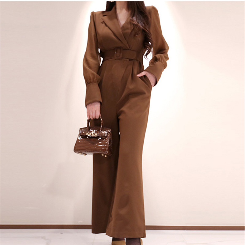 Autumn Spring Elegant Office Lady Jumpsuits Women High Waist Wide Leg Work Wear Long Belted Jumpsuit