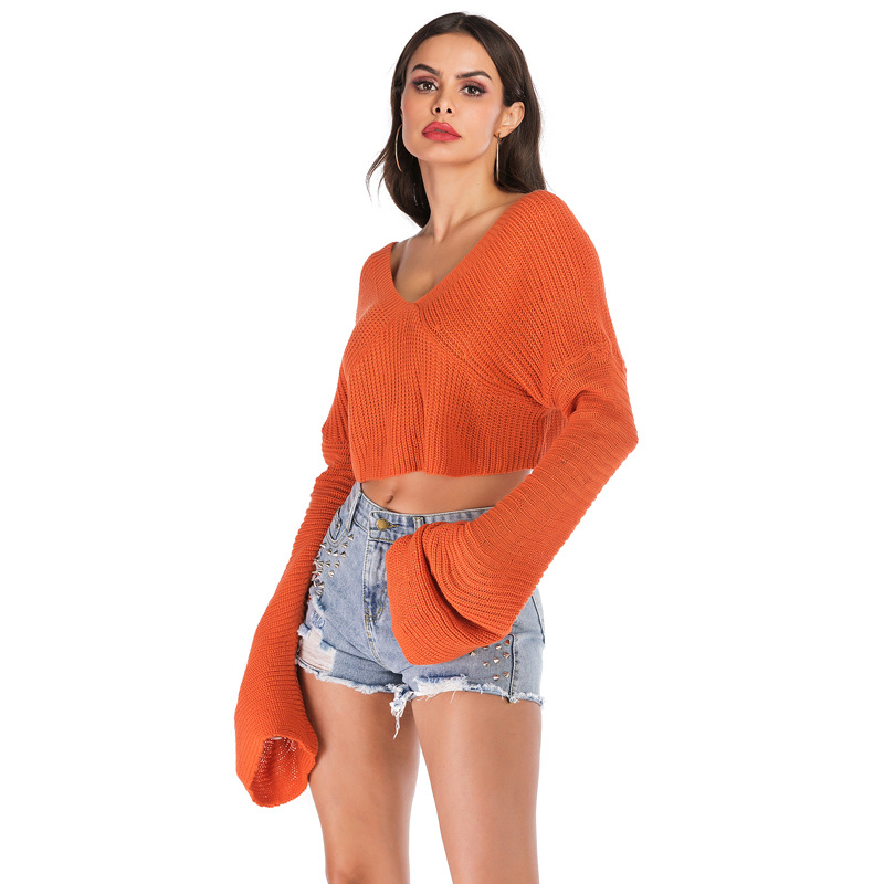 Orange Autumn Sweater Crop Top Paragraph Navel Sexy V Neck Winter Loose Lazy Wind Women Sweaters And Pullovers Elegant Female