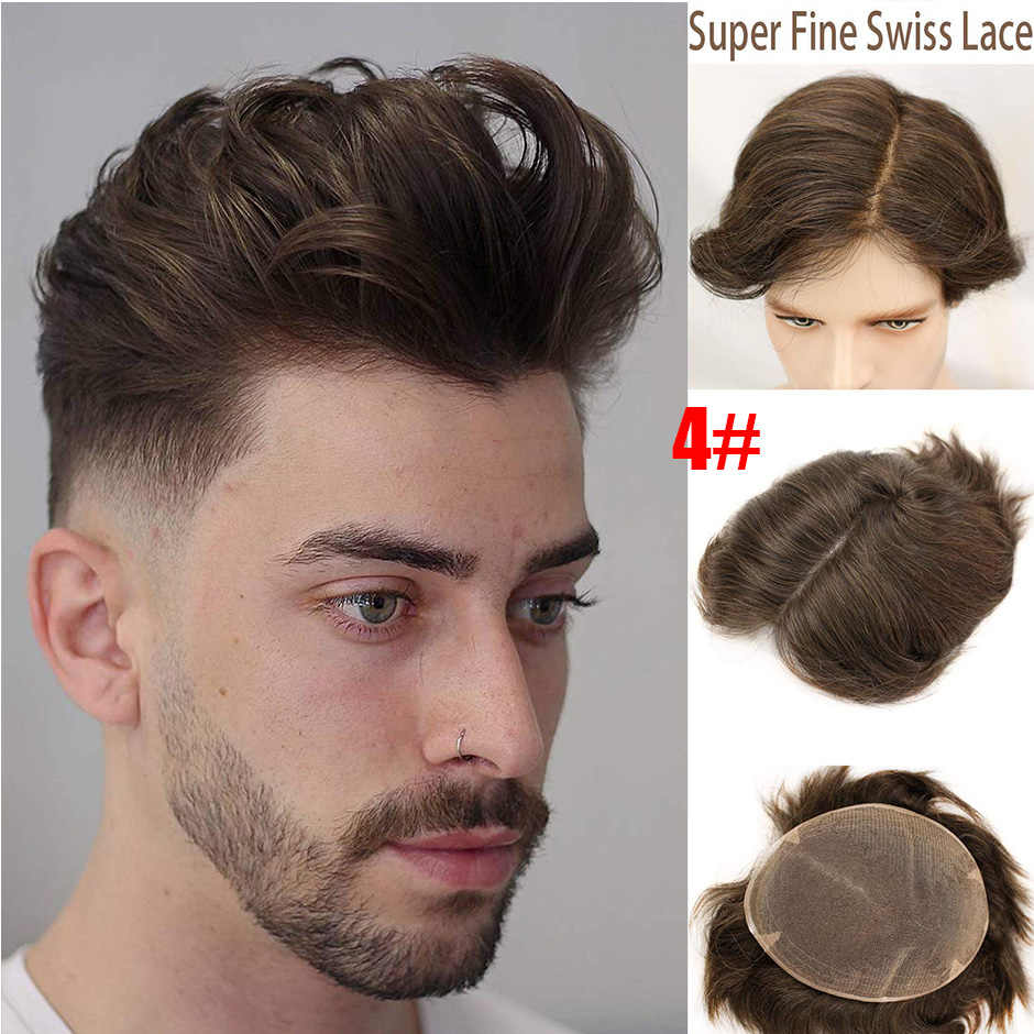 Toupee For Men Hair Swiss Full Lace Toupee European Real Human Hair Replacement For Men Hairpiece 10X8 Haman Hair Men Hair