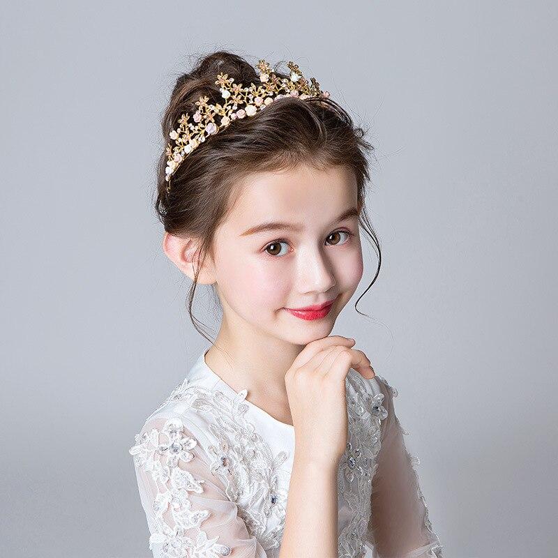 CHILDREN'S Crown Headdress Princess Girls Crown Garland Gold Hair Bands Children Birthday Hair Accessories Flower Boys/Flower Gi